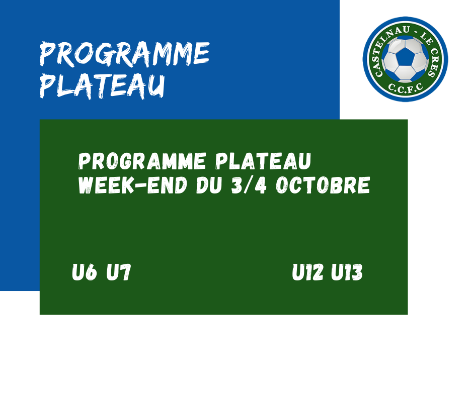 Programme plateau week-end 3/4 octobre