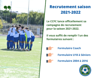 Read more about the article Recrutement saison 2021-2022